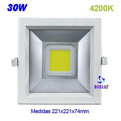 Downlight cuadrado LED COB 30W 4200K -