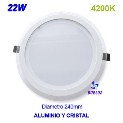 Downlight LED 22W Blanco+cristal 6000K -
