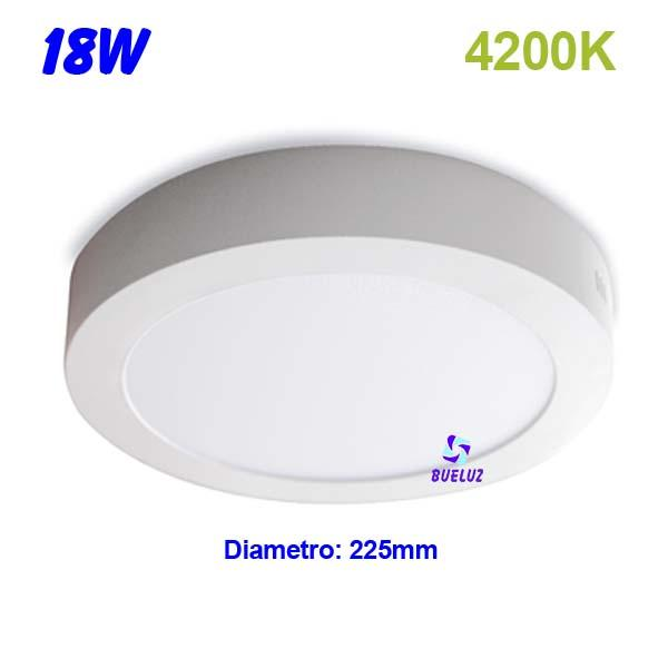 Downlight superficie redondo LED 18W 4200K -