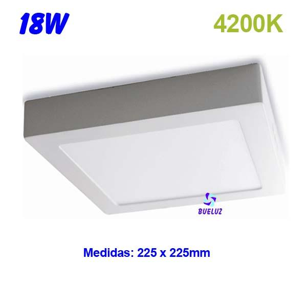 Downlight superficie cuadrado LED 18W 4200K -