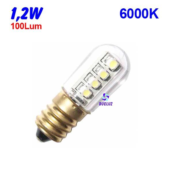 Tubular LED E-14 1,2W  6000ºK -