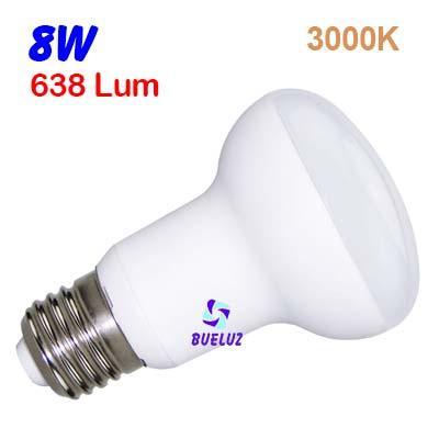 Reflectora LED R-63 E-27 8W 3000ºK -