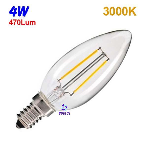 Vela LED E-14 4W Transparente 3000K -