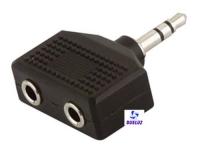 Conector 1 entrada a 2 salidas stereo 3,5mm  -
