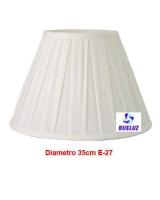 Pantalla Tela Plisada 35cm E-27 Blanca   -