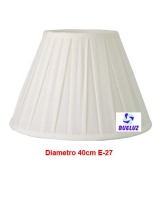 Pantalla Tela Plisada 40cm E-27 Blanca   -