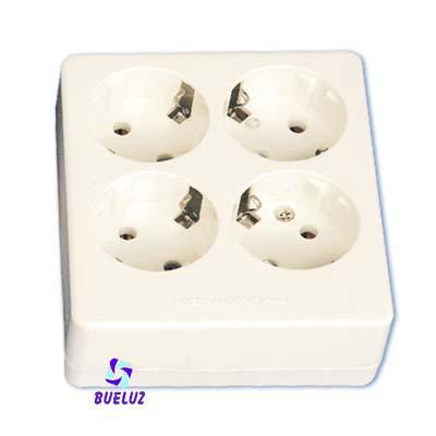 Base multiple 4-T  T/T sin cable cuadrada  - Base multiple 4-Tomas sin interruptor y sin cable, maximo 3500 watios 10/16 Amp 250V. Con proteccion para niños.