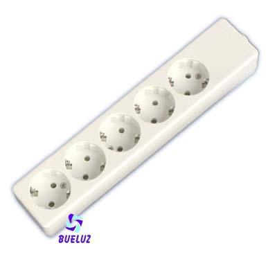 Base multiple 5-T  T/T sin cable (BLISTER DURO)  - Base multiple 5-Tomas sin interruptor y sin cable, maximo 3500 watios 10/16 Amp 250V. Con proteccion para niños.Envasada en BLISTER DURO.