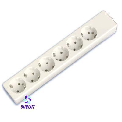 Base multiple 6-T  T/T sin cable (BLISTER DURO)  - Base multiple 6-Tomas sin interruptor y sin cable, maximo 3500 watios 10/16 Amp 250V. Con proteccion para niños.Envasada en BLISTER DURO.