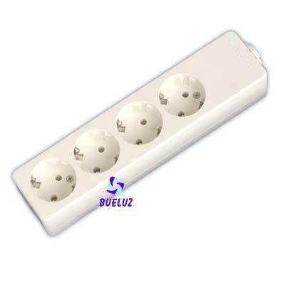 Base multiple 4-T  T/T  sin cable (BLISTER DURO)  - Base multiple 4-Tomas sin interruptor y sin cable, maximo 3500 watios 10/16 Amp 250V. Con proteccion para niños.Envasada en BLISTER DURO.