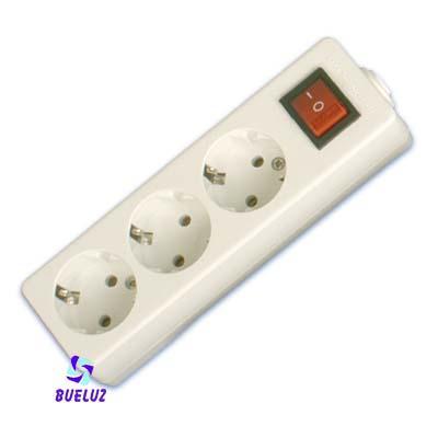 Base multiple 3-T  T/T  sin cable  c/interruptor (BLISTER DURO)  - Base multiple 3-Tomas con interruptor y sin cable, maximo 3500 watios 10/16 Amp 250V. Con proteccion para niños.Envasada en BLISTER DURO.