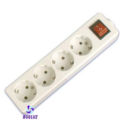 Base multiple 4-T  T/T  sin cable c/interruptor (BLISTER DURO) - Base multiple 4-Tomas con interruptor y sin cable, maximo 3500 watios 10/16 Amp 250V. Con proteccion para niños.Envasa en BLISTER DURO