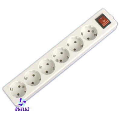 Base multiple 6-T  T/T sin cable c/interruptor (BLISTER DURO) - Base multiple 6-Tomas con interruptor y sin cable, maximo 3500 watios 10/16 Amp 250V. Con proteccion para niños.Envasada en BLISTER DURO.