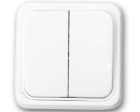 Doble Conmutador superficie 65x65 blanco -