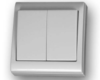 Doble conmutador superficie 80 x 80 blanco -