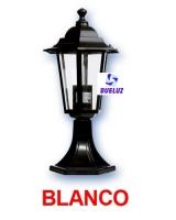 Farol Jardin Aluminio 6 caras Blanco Pilastra