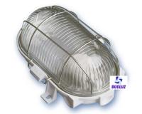 Aplique ovalado cristal y rejilla metalica  -