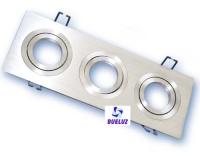 Aro empotrar rectangular triple basculante aluminio