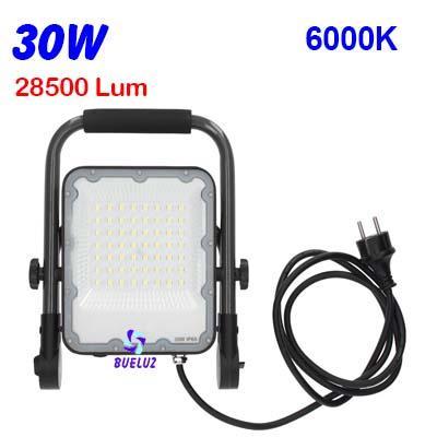 Proyector LED con soporte 30W alto brillo 6400K -