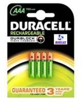 Pila Recargable LR03 (AAA) Duracell 750 mAH con carga