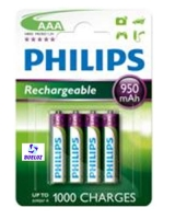 Pila Recargable LR03 (AAA) Philips 950 mAh -