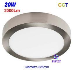 Downlight superficie redondo LED Niquel Satin 20W 6400K -