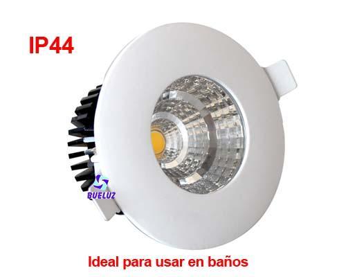 Aro fijo redondo blanco empotrable 7W LED COB. 3000K