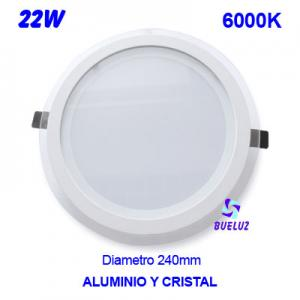 DOWNLIGHT LED 22W BLANCO+CRISTAL 6000K
