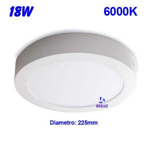 Downlight superficie redondo LED 18W 6000K -