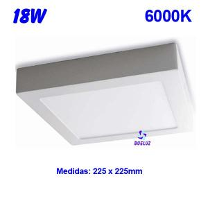 Downlight superficie cuadrado LED 18W 6000K -