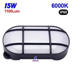 Aplique ovalado LED 15W 6000K Negro