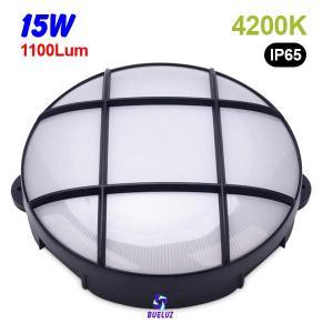 Aplique redondo LED 15W 4200K Negro