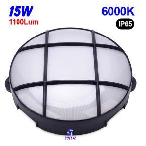 Aplique redondo LED 15W 6000K Negro