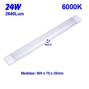 Regleta Led superficie 24W 6000K