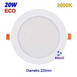 DOWNLIGHT LED 20W EXTRAPLANO BLANCO 3000K