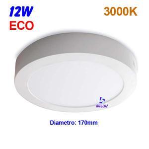 Downlight superficie redondo LED 12W 3000K