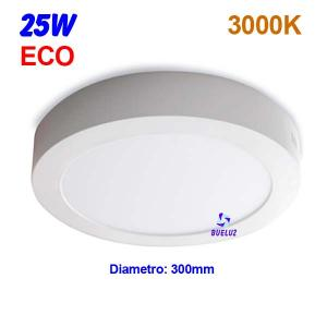 Downlight superficie redondo LED 25W 3000K -