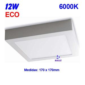 Downlight superficie cuadrado LED 12W 6000K