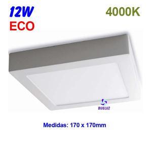 Downlight superficie cuadrado LED 12W 4000K -