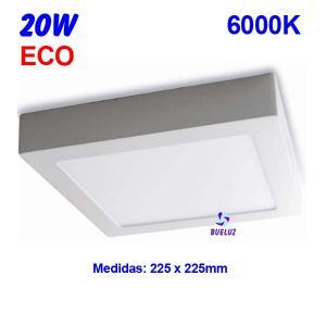 Downlight superficie cuadrado LED 20W 6000K -
