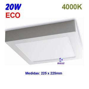 Downlight superficie cuadrado LED 20W 4000K -