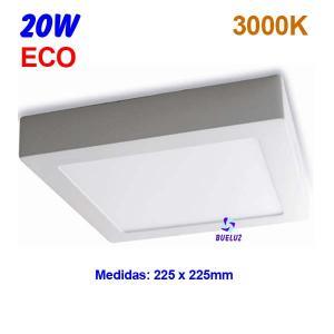Downlight superficie cuadrado LED 20W 3000K -