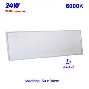 PANEL LED 60x30cm 24W 6000K COLOR BLANCO