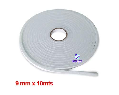 Burlete espuma adhesivo 9mm Blanco -