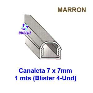 Canaleta PVC Adhesiva 7 x 7mm (1mts) Marrón -