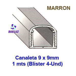 Canaleta PVC Adhesiva 9 x 9mm (1mts) Marrón -
