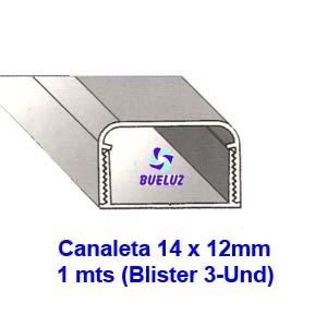 Canaleta PVC Adhesiva 14 x 12mm (1mts) Blanco -