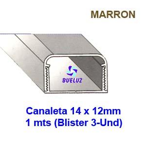 Canaleta PVC Adhesiva 14 x 12mm (1mts) Marrón