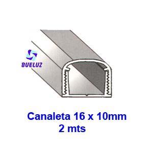 Canaleta PVC Adhesiva 16 x 10mm (2mts) Blanco -