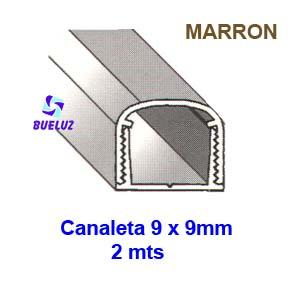 Canaleta PVC Adhesiva 9 x 9mm (2mts) Marrón -
